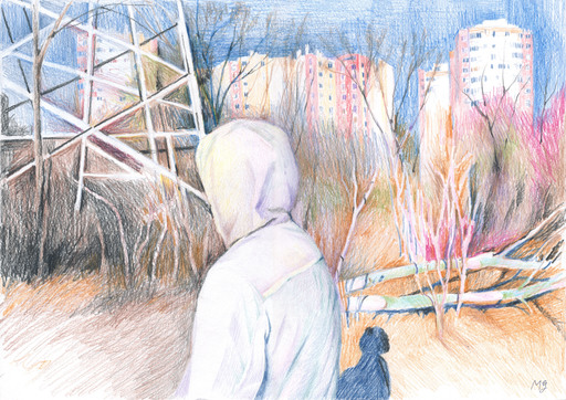 "Maria GROSS - Drawing-Watercolor - ""Dima"" lovestory teenager in cityscape"