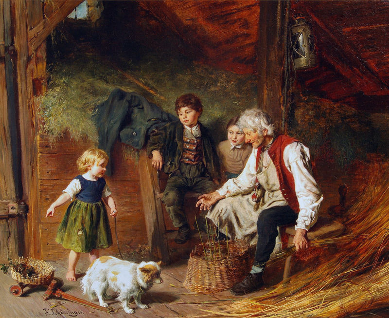 Felix SCHLESINGER - Painting - Visiting Grandpa's Workshop