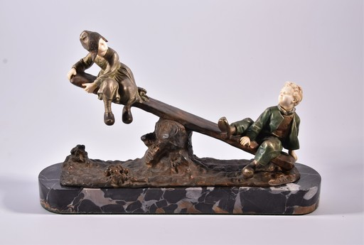 Giuseppe D'ASTE - Sculpture-Volume - The swing, two children playing