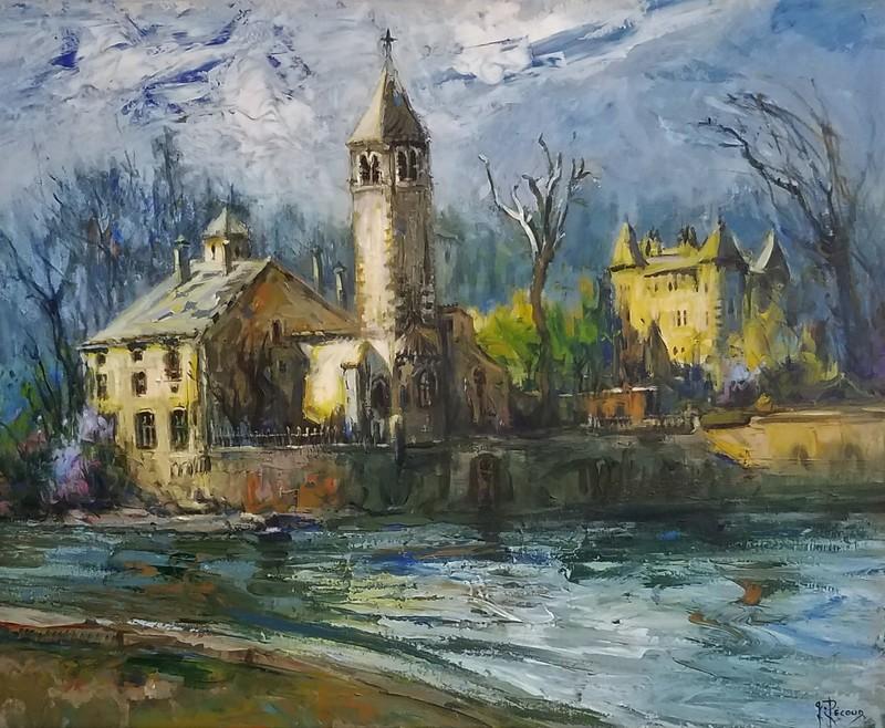 Gilbert PECOUD - Painting - L'île Barbe