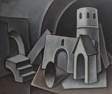 Dimitri Mikhailovich KRASNOPEVTSEV - Painting - Untitled (Composition in Grey)