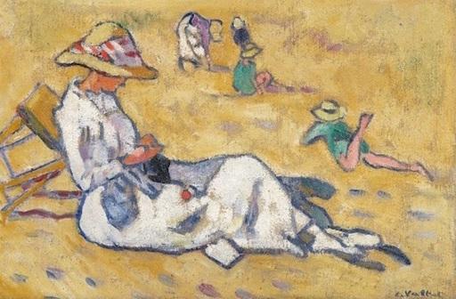 路易斯·瓦尔塔 - 绘画 - Femme sur la plage