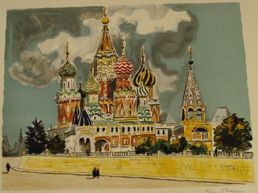 "Yves BRAYER - Grabado - ""Moscou:La Basilique de Basile le Bienheureux"",1976."