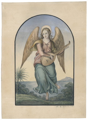 Maria ELLENRIEDER - Disegno Acquarello - Musizierender Engel in südlicher Landschaft