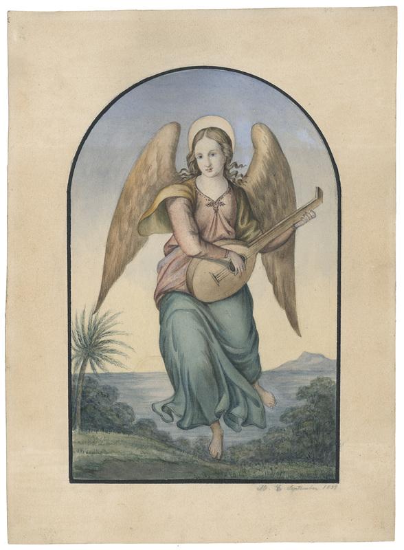 Maria ELLENRIEDER - Drawing-Watercolor - Musizierender Engel in südlicher Landschaft