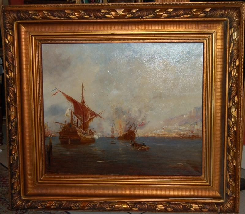 Alfred August Felix BACHMANN - Pintura - Le combat naval
