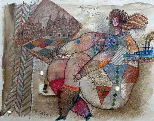 Théo TOBIASSE - Zeichnung Aquarell - Venise est un bateau qui creuse le temps
