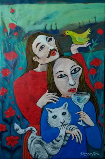 R.U. SUBAGIO - Painting - Two in a Flower Garden