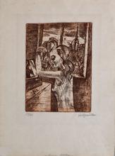 Conrad FELIXMÜLLER - Grabado - Woman in the Morning - Grooming