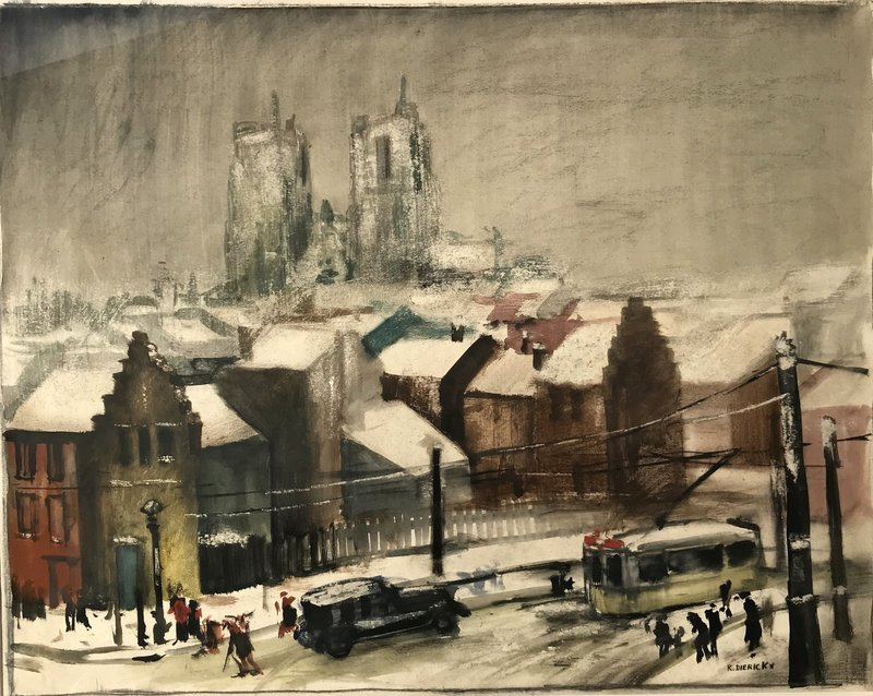 "Raymond DIERICKX - Drawing-Watercolor - ""LA CATHEDRALE SOUS LA NEIGE"""