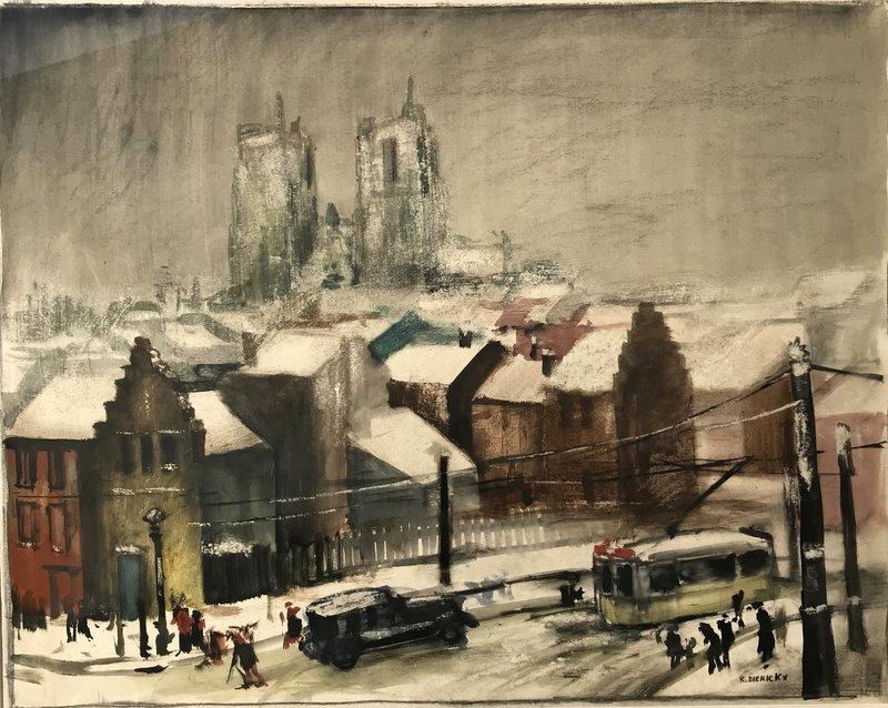"Raymond DIERICKX - Drawing-Watercolor - ""LA CATHEDRALE SOUS LA NEIGE"""
