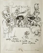 Jean COCTEAU - Dibujo Acuarela - Willy, Polaire, Toby Chien et Colette...