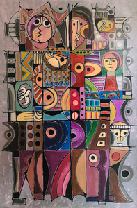 Charles SUCSAN - Painting - Rational Abstraction with Figures