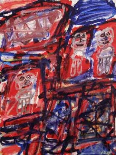 Jean DUBUFFET - Painting - Site avec 3 personnages