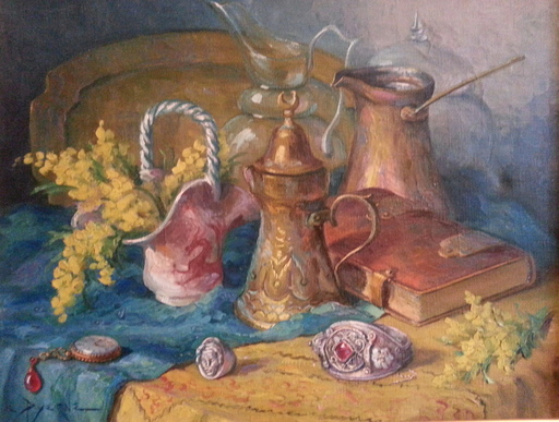 Reyne-Marin DE PYERNE - Pintura - Nature morte à la cafetière turque