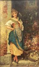 Hans ZATZKA - Painting - Girl with a fan