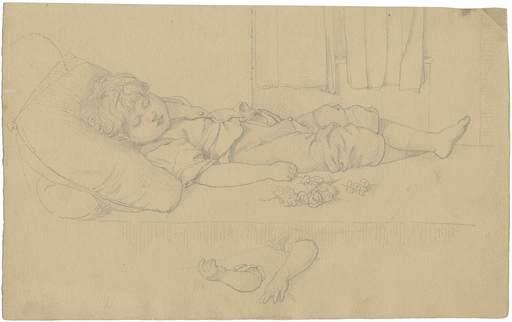 Adolf Gottlob ZIMMERMANN - Disegno Acquarello - Auf einem Sofa ausgestreckt schlafender kleiner Junge.