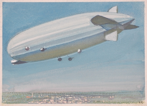 "Ernst LIEBENAUER - Dessin-Aquarelle - Airship of the World War I"" by Ernst Liebenauer, ca 1915"