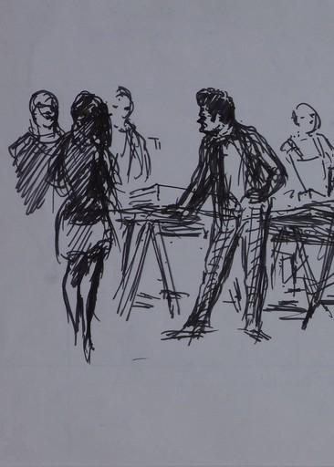 Claude RÉMUSAT - Drawing-Watercolor - Pierre HENRY 31 octobre 1968, travail en répétition, dessin