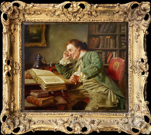 Fritz WAGENER - Painting - In the Library