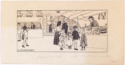 """Marianne FRIMBERGER - Dibujo Acuarela - """"Christmas Market"""", ca.1900"""