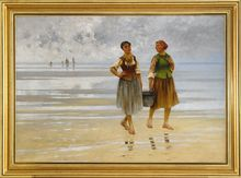 August HAGBORG - Painting - Musselplockerskor på Stranden