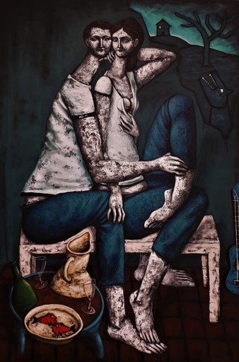 Nicolas MONJO - Painting - Des failles et du champagne