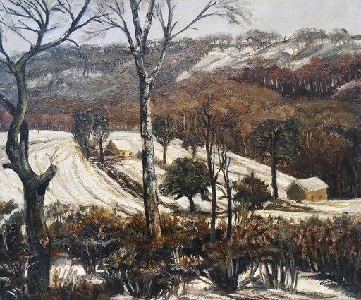 Domingos TOLEDO PIZA - Painting - paysage de Bourgogne sous la neige