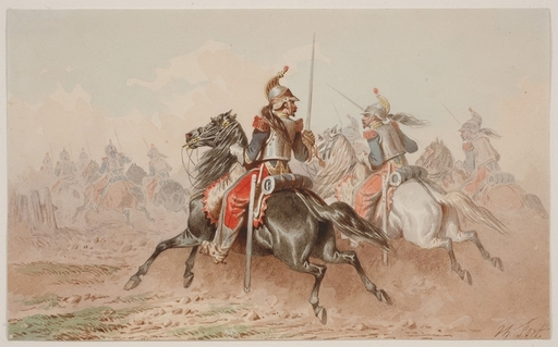 """Theodore FORT - Painting - """"French Cavalry"""", Watercolor"""