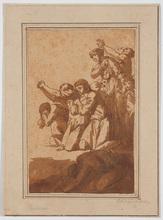 """Edme Gratien PARIZEAU - Dibujo Acuarela - """"Prayers"""" attrib. to Edme Gratien Parizeau (b.1783)"""