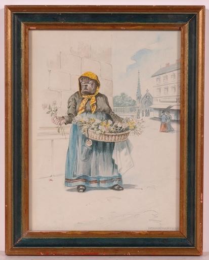 "Ernst HOCHSCHARTNER - Drawing-Watercolor - ""Dog as a Flower Seller"", Watercolor"