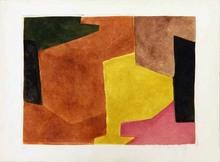 Serge POLIAKOFF - Estampe-Multiple - Composition brune, jaune et mauve