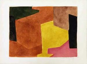 Serge POLIAKOFF - Print-Multiple - Composition brune, jaune et mauve
