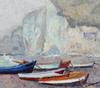 Albert MALET - Pintura - Barques à Etretat