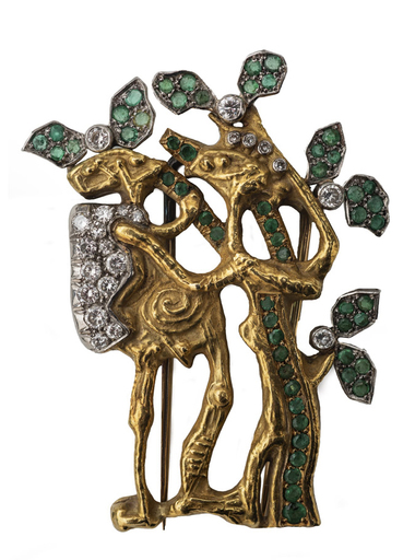 AFRO - Sculpture-Volume - Anthropomorphic Broche