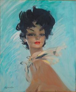 Jean Gabriel DOMERGUE - Pintura - Le Foulard 'Or