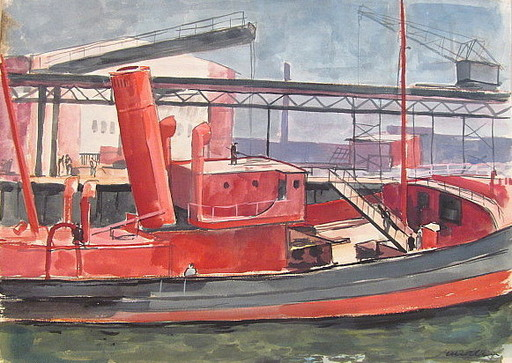 Paul MECHLEN - Drawing-Watercolor - Rotes Schiff im Hafen.