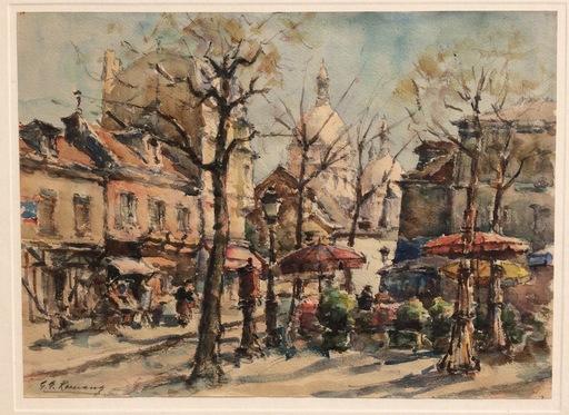 Georges ROMANO - Dibujo Acuarela - Place du Tertre Montmartre
