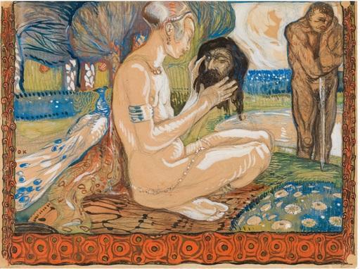 Oskar KOKOSCHKA - Disegno Acquarello - Salome with the head of John the Baptist (recto) / Nude stud