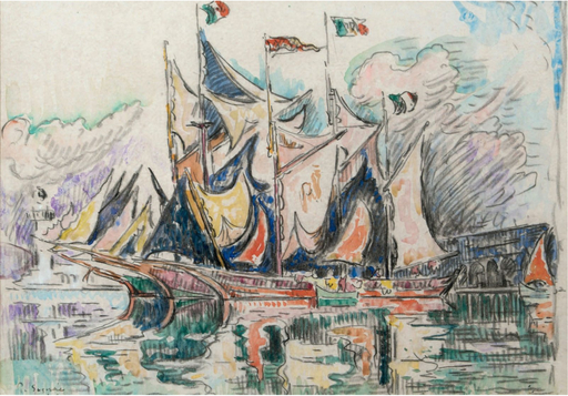 Paul SIGNAC - Dibujo Acuarela - Voiliers à quai, Antibes