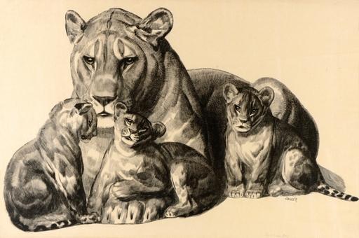Paul JOUVE - Estampe-Multiple - Lionne et ses lionceaux