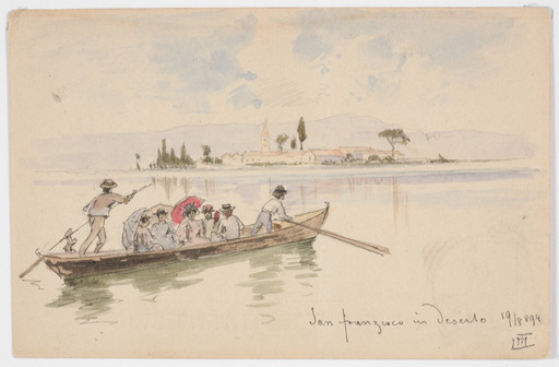 "Ludwig Hans FISCHER - 水彩作品 -  ""Motif of Venice"" Watercolor"