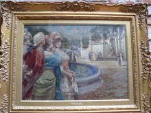 Raffaele ARMENISE - Painting - Dame e cavalieri in piazzo con fontana