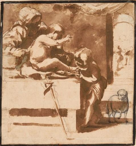 Guido RENI - Drawing-Watercolor - Vierge à l'Enfant avec Saint Jean Baptiste