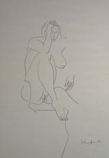 Alfred KORNBERGER - Drawing-Watercolor - Akt mit großer Brust und offenem Schenkel
