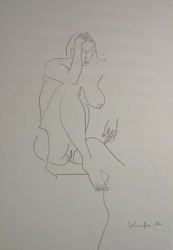 Alfred KORNBERGER - Dibujo Acuarela - Akt mit großer Brust und offenem Schenkel