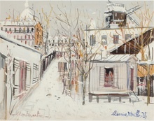 莫里斯•郁特里罗 - 绘画 - Macquis sous la neige, Montmartre