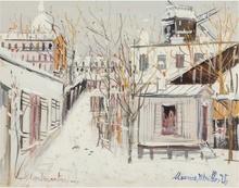 Maurice UTRILLO - Painting - Macquis sous la neige, Montmartre