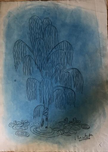 """Joan BROTAT VILANOVA - 水彩作品 - """"El parque azul"""""""