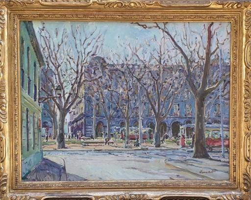 José AMAT PAGES - Painting - Otoño en la Plaza Palau